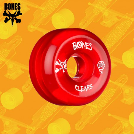 Bones Clear Red 54mm SPF Ruote Skateboard Street