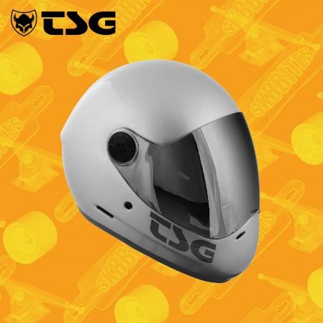 TSG Pass Solid Color Silver Casco Longboard Freeride Downhill