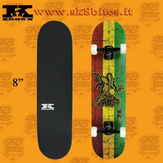 "Krown Trinity Rasta 8"" Complete Skateboard Street Deck"