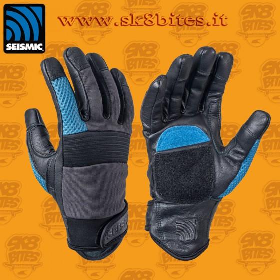 Seismic Freeride Gloves Blue Longboard Freeride Downhill Slide Gloves