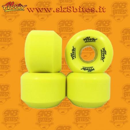 Alva Conical Wheels Yellow 59mm 88a Skateboard Street Pool Old School Wheels