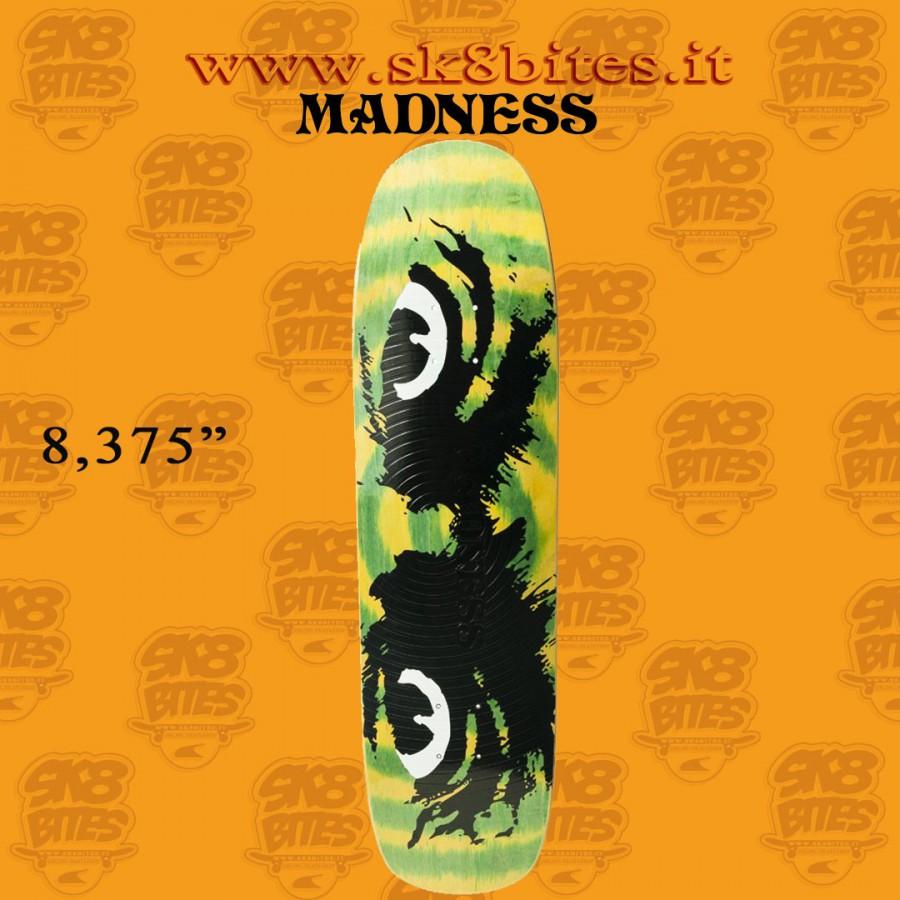 "MADNESS Dead Stare Green Swirl 8.375"" R7 Skateboard Street Deck"