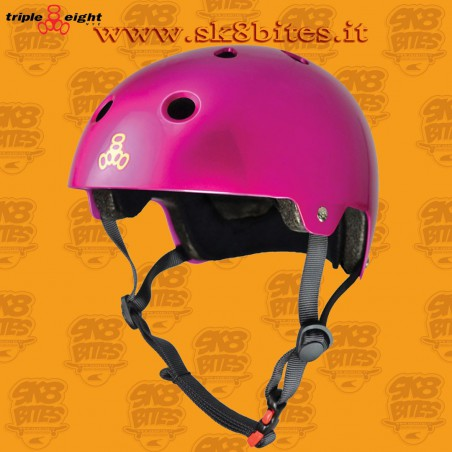 Triple Eight Brainsaver Dual Certified Glossy Pink Skateboard Street Longboard Freeride Cruising Helmet