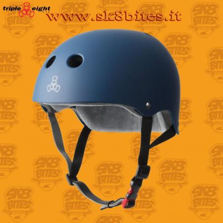 Triple Eight Certified Sweatsaver Navy Skateboard Street Longboard Freeride Cruising Helmet