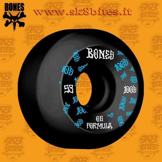 Bones 100's Og Formula Black V5  53mm Skateboard Street Pool Wheels