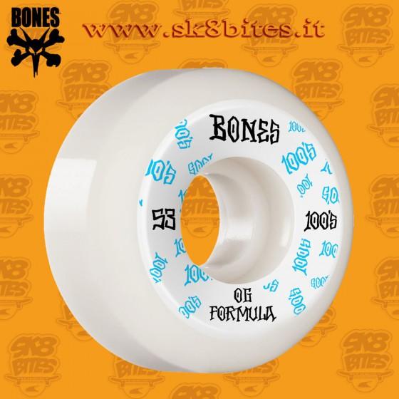 Bones 100's Og Formula White V5  53mm Skateboard Street Pool Wheels