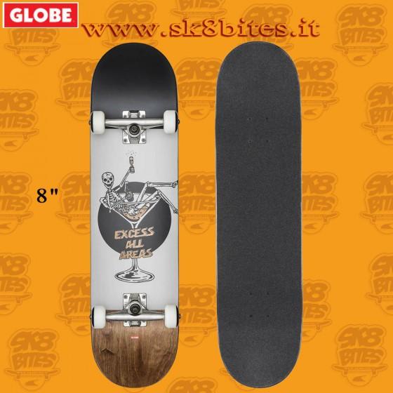 Globe G1 Excess White/Brown 8″ Complete Skateboard Street Pool Deck