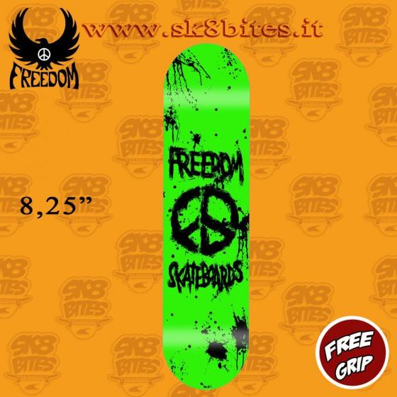 """Freedom Skateboards Peace Paint Neon Green 8,25"""" Skateboard Street Pool Deck"""
