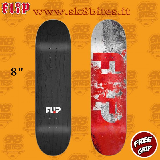 "Flip Distortion Red 8"" Skateboard Street Pool Deck"