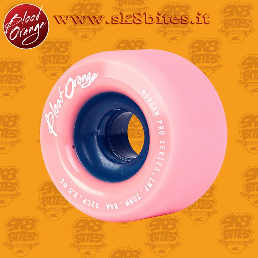 Blood Orange Morgan Pro Pastel 70mm 84a Coral Pink Lavender Longboard Freeride Slide Wheels