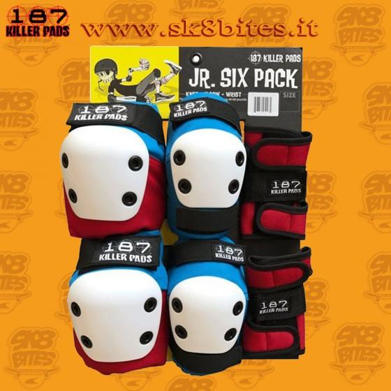 187 Junior Six Pack Black Skateboard Street Skatepark Protective Set Up Complete