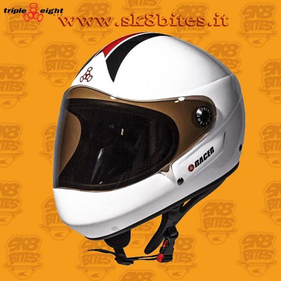 Triple Eight T8 Racer White Longboard Freeride Downhill Helmet