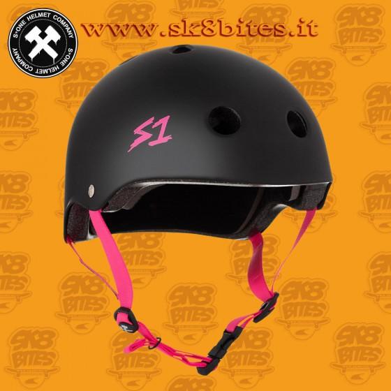 S-One Lifer CSPC Certified Matte Black Pink Straps Skateboard Longboard Roller Helmet