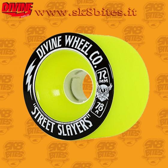 Divine Street Slayers Thunder 72mm 78a Yellow Longboard Surfskate Cruising Wheels