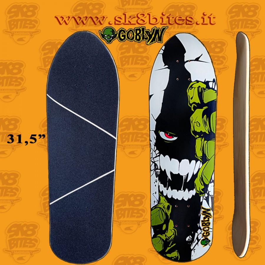 """Goblyn Smiling 31,5"""" Artisanal Surfskate Carving Cruising Deck"""