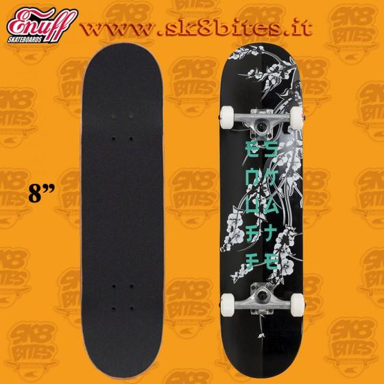 "Enuff Cherry Blossom 8"" Black Complete Skateboars Street Deck"