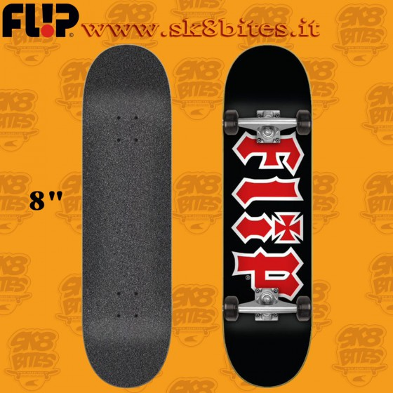 "Flip HKD Black 8"" Complete Skateboard Street Pool Deck"