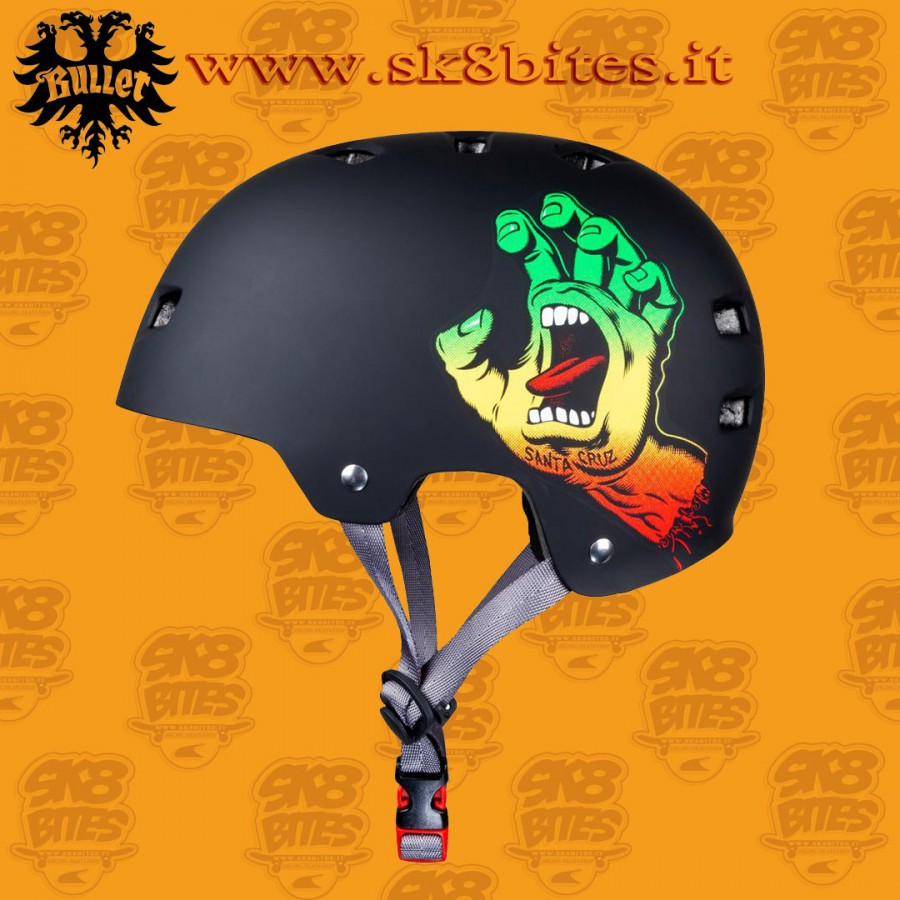 Bullet x Santa Cruz Screaming Hand Rasta Adult S/M Skateboard Street Longboard Cruising Helmet