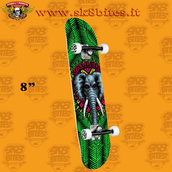 """Powell Peralta Vallely Elephant One Off Green 8"""" Complete Skateboars Street Deck"""