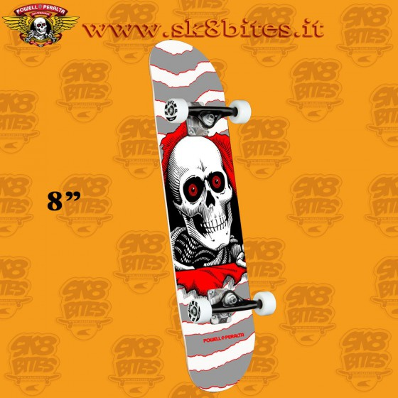"""Powell Peralta Ripper One Off Silver 8"""" Complete Skateboars Street Deck"""