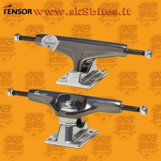 "Tensor Magnesium Light Regular Glossy Gunmetal Silver 5.25"" Skateboard Street Pool Trucks"