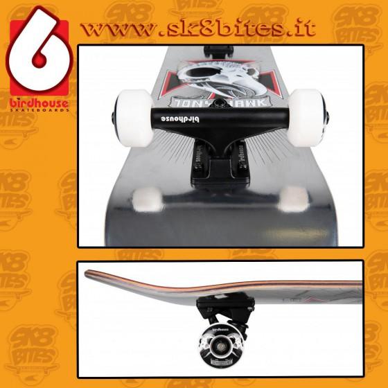 "Birdhouse Stage 3 Hawk Skull 2 Chrome Silver Foil 7,75"" Complete Skateboard Street Deck"