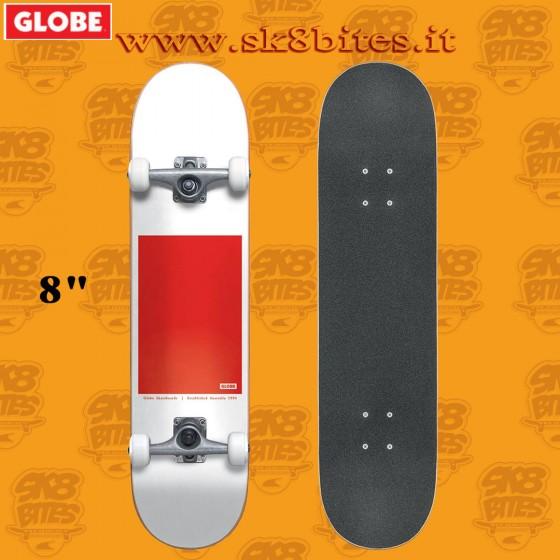 Globe G0 Block Serif White Red 8″ Complete Skateboard Street Pool Deck
