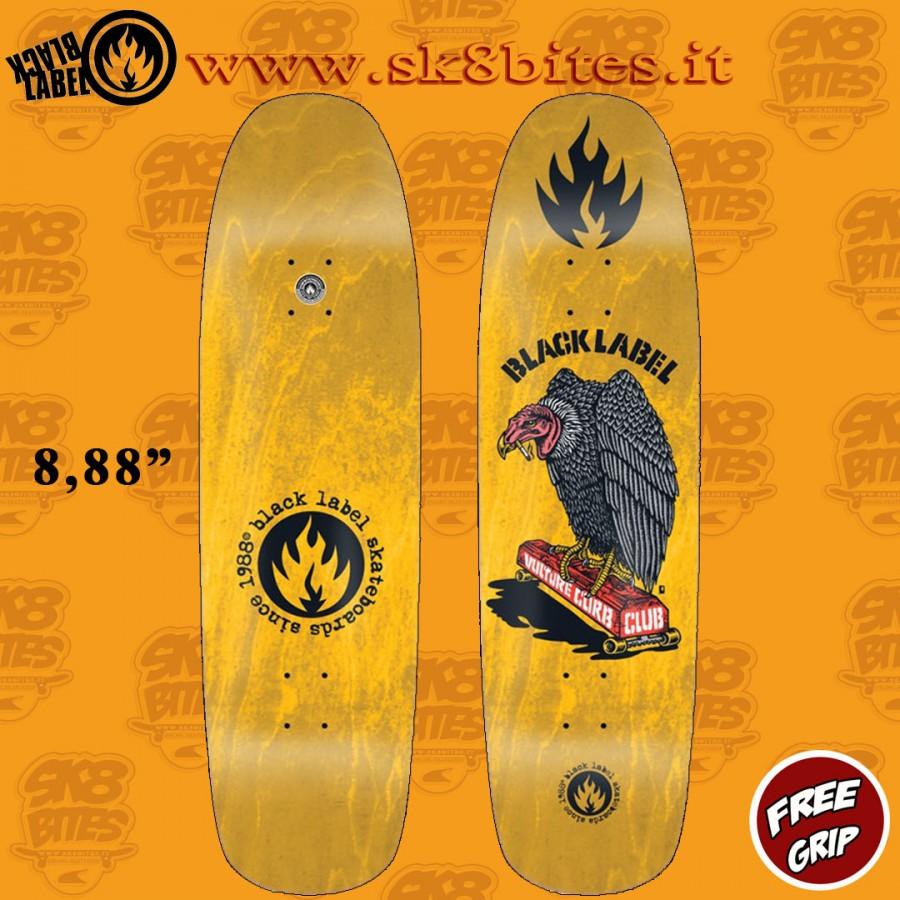 "Black Label Vulture Club Yellow Stain 8,88"" Skateboard Oldschool Street Deck"