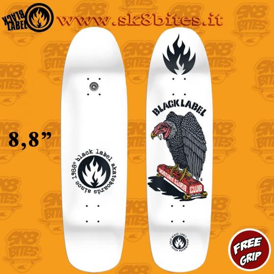 """Black Label Vulture Club White Dip 8,88"""" Skateboard Oldschool Street Deck"""