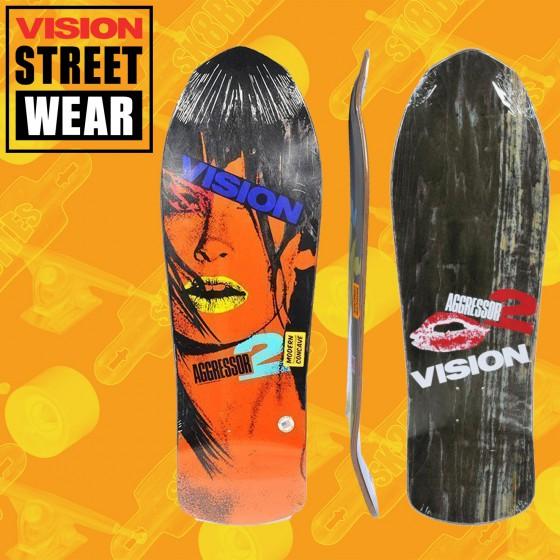 Vision Aggressor 2 Modern Concave Stain Veneer Black/Orange Tavola Skateboard Oldschool