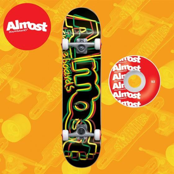 "Almost Neon Rasta 8.0"" Tavola Completa Skateboard Street"