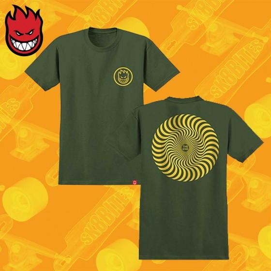Spitfire Classic Swirl Military Green T-Shirt Maglietta Skateboard Streetwear Unisex