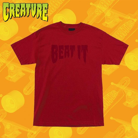 Creature Beat It Red T-Shirt Maglietta Skateboard Streetwear Unisex