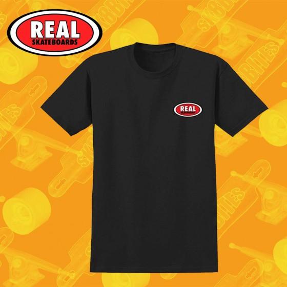 Real Small Oval Black T-Shirt Maglietta Skateboard Streetwear Unisex