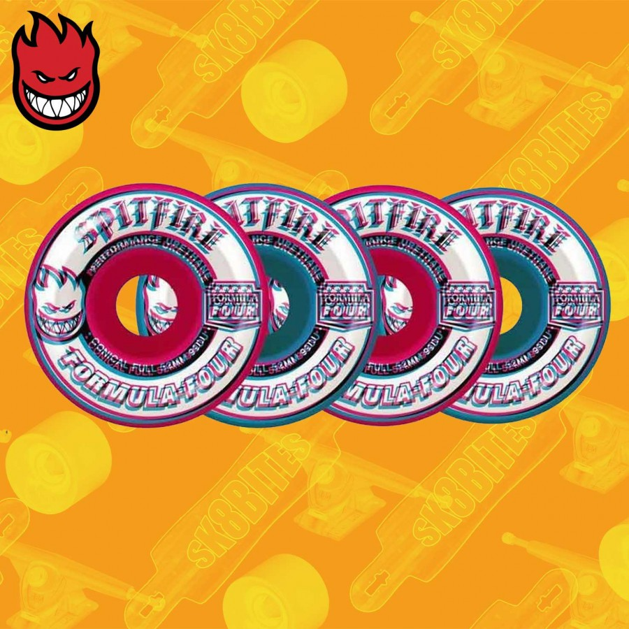 Spitfire Overlay Conical Full Pink/Blue Mashups F4 99D 52mm Ruote Skateboard Street