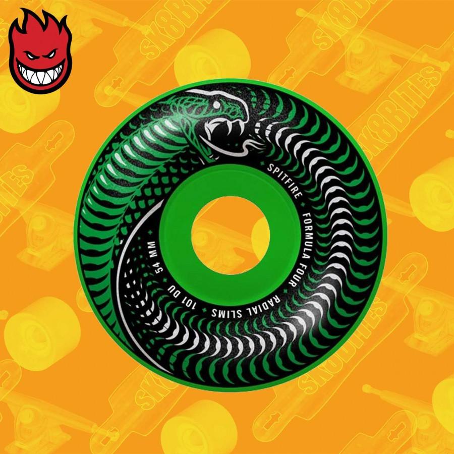 Spitfire Venomous Radial Slim Green/Black Mashup F4 101D 52/53/54mm  Skateboard Street Wheels