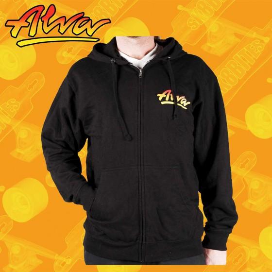 Alva OG Zip-Up Hoodie Black Felpa Skateboard Street