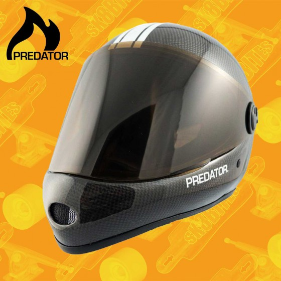 Predator DH-6 Red White Stripe Casco Longboard Downhill Freeride