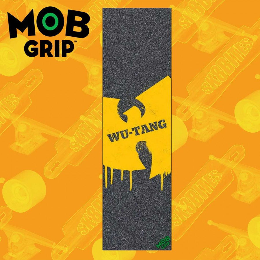 "MOB Thrasher Yellow And Orange Flame 9""x33""  Griptape Foglio Adesivo Skateboard Street"