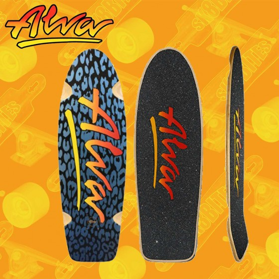 "Alva 1979 Lost Model Leopard Silver Black 9,25"" Tavola Skateboard Oldschool"