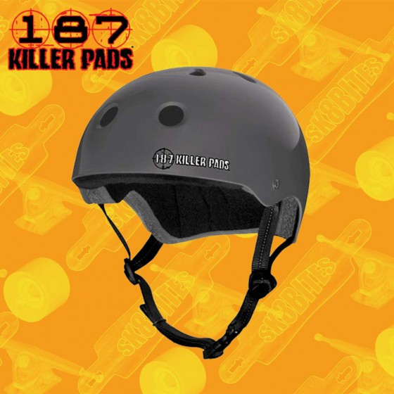 187 Killer Pads Helmet Matte Black Casco Skateboard Longboard Bike Freeride Slide