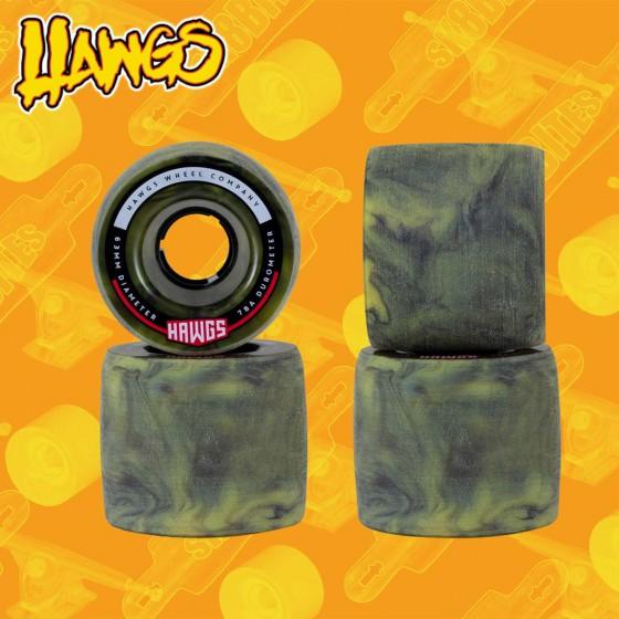 Hawgs Fatty Yellow Green 63mm Ruote Longboard Freeride Slide