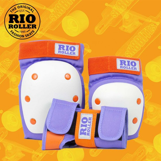 Rio Roller Triple Pad Set Orange Longboard Skateboard Skates Pads