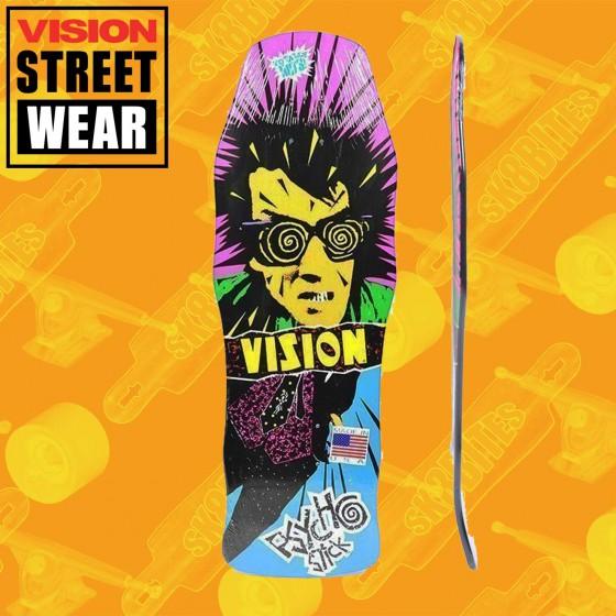 """Vision Psycho Stick  Stain Veneer Black 10"""" Skateboard Oldschool Street Deck"""