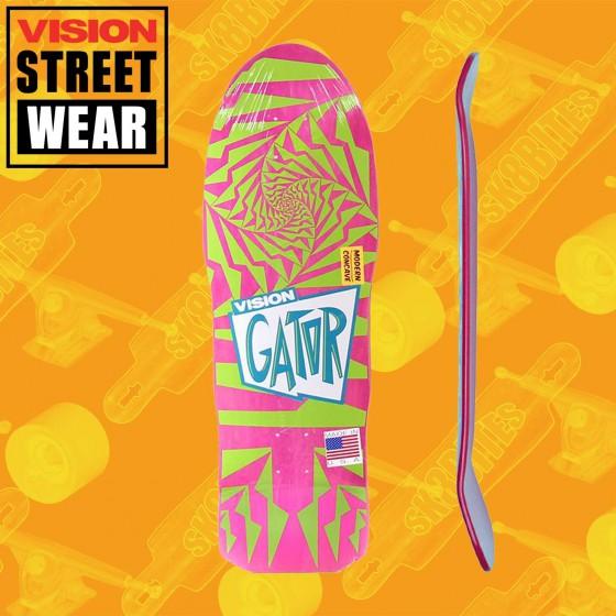 Vision Gator 2 Stained Veneer Pink/Green Skateboard Oldschool Deck