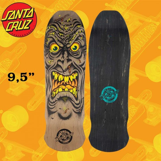 "Santa Cruz Roskopp Face Reissue Brown 9.5"" Tavola Oldschool Skateboard Street"