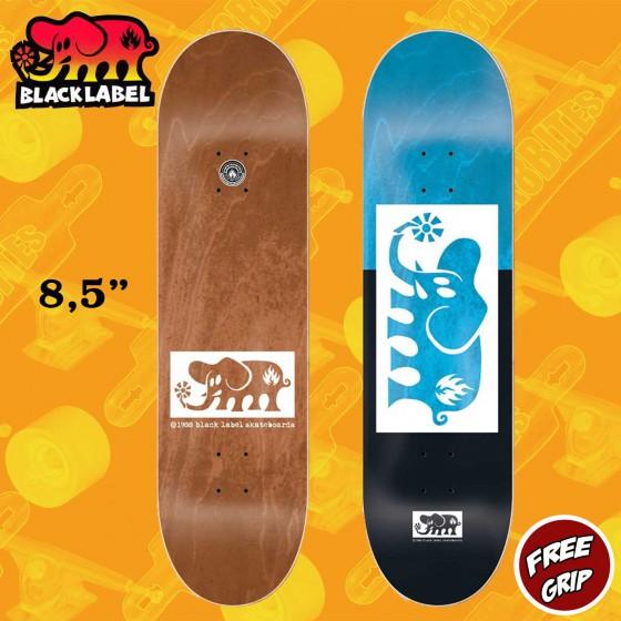 "Black Label Elephant Block Out 8.5"" Blue Black  Skateboard Street Deck"
