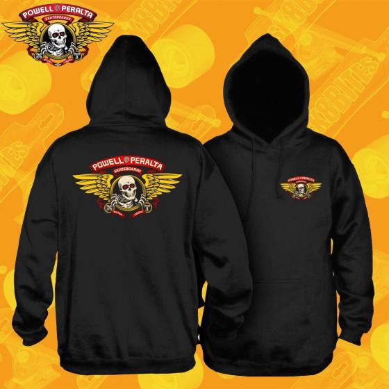 Powell Peralta Winged Ripper Hooded Sweatshirt Black Felpa Skateboard Street