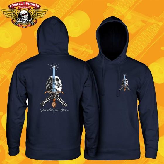 Powell Peralta Skull & Sword Hooded Sweatshirt Navy Felpa Skateboard Street