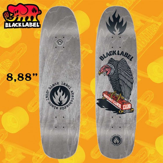"Black Label Vulture Curb Club Grey 8,88"" Tavola Skateboard Oldschool Reissue"